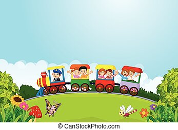 Cartoon happy kids on a colorful tr