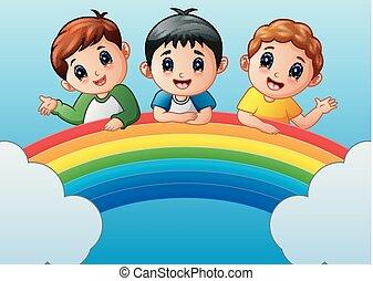 Cartoon happy kids on the rainbow