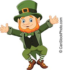 Cartoon happy leprechaun dancing - Vector illustration of...