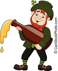 Cartoon happy leprechaun holding a bottle of beer