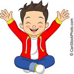 Cartoon Happy little boy sitting