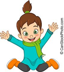 Cartoon happy little girl in warm sweater