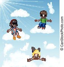 Cartoon Happy little kids sitting - Vector illustration of ...