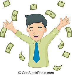 Cartoon Happy Man with Money