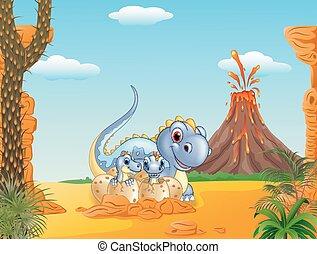 Cartoon happy mom dinosaur and baby - Vector illustration of...