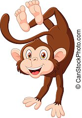 Cartoon happy monkey dancing - Vector illustration of ...