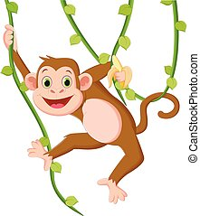 Cartoon happy monkey hanging and holding a banana