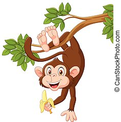 Cartoon happy monkey hanging