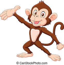 Cartoon Happy monkey presenting - Vector illustration of...
