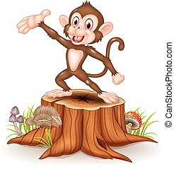 Cartoon Happy monkey presenting