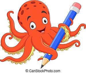 Cartoon happy octopus holding pencil