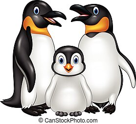 Cartoon happy penguin family isolated on white background -...