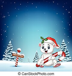 Cartoon happy polar bear