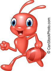 Cartoon happy red ant running