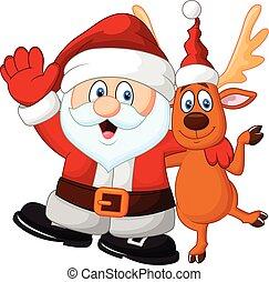 Cartoon Happy Santa and deer