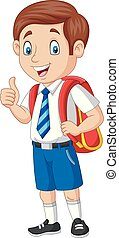 Cartoon happy school boy in uniform giving a thumb up