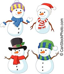 Cartoon happy snowman collection - Vector illustration of ...