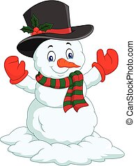 Cartoon happy snowman isolated on white background