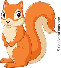 Cartoon happy squirrel isolated on white background