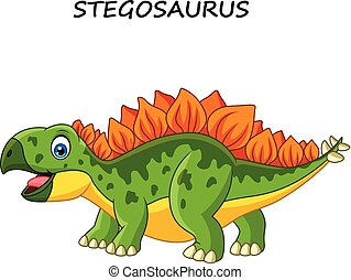 Cartoon happy stegosaurus isolated on white background
