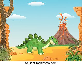 Cartoon happy stegosaurus posing
