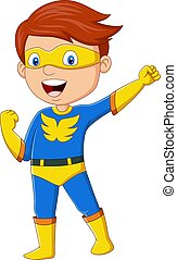 Cartoon happy superhero boy posing