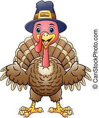 Cartoon happy turkey