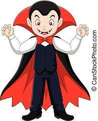 Vector illustration of Cartoon happy vampire