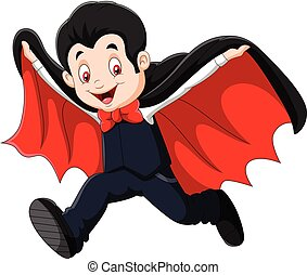 Cartoon Happy vampire isolated on white background - Vector...