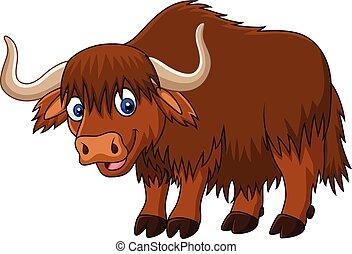 Cartoon happy yak - Vector illustration of Cartoon happy yak