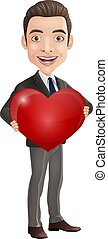 Cartoon happy young businessman holding a red heart