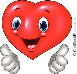 Cartoon heart love giving thumb up