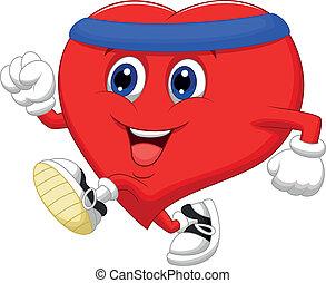 Cartoon Heart running to keep healt
