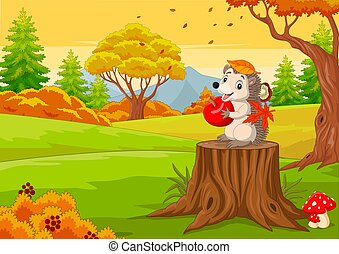 Cartoon hedgehog holding red apple in the autumn forest
