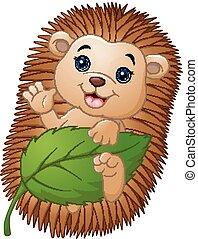 Cartoon hedgehog with holding leaf and waving hand
