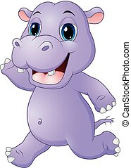Cartoon hippo running
