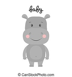 Vector illustration of cartoon hippo.