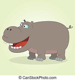 Hippo - Vector Illustration of Cartoon Hippopotamus