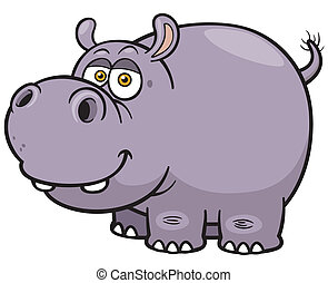 Hippopotamus - Vector illustration of Cartoon Hippopotamus
