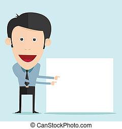 Vector illustration of cartoon holding blank board