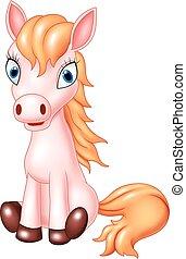 Cartoon horse sitting isolated