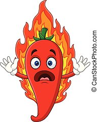 Cartoon hot chili pepper