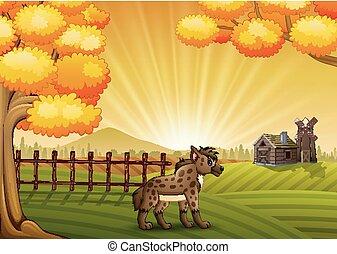Cartoon hyena in the farm background