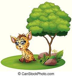 Cartoon hyena under a tree on a white background