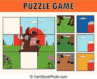 Cartoon illustration of educational jigsaw puzzle for children with cute donkey farm animal