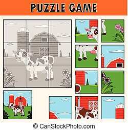 Cartoon illustration of educational jigsaw puzzle for children with cute cow farm animal