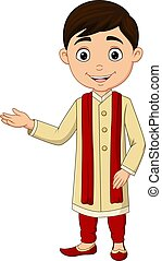 Cartoon Indian boy wearing traditional costume
