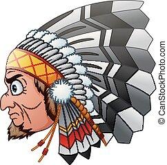 Cartoon Indian Chief - Vector illustration of Cartoon Indian...