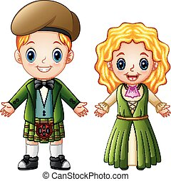 Cartoon Ireland couple wearing traditional costumes