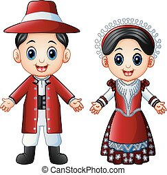 Cartoon Italian couple wearing traditional costumes